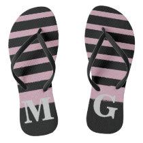 Black Pink Striped Cool Simple Patterns Flip Flops