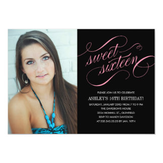 Black & Pink Sweet 16 Photo Invitations
