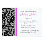 Black pink swirl engagement anniversary CUSTOM Personalized Invites