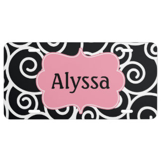 Black Pink Swirl Personalized License Plate