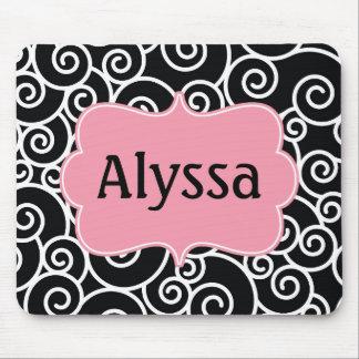 Black Pink Swirl Personalized Mousepad