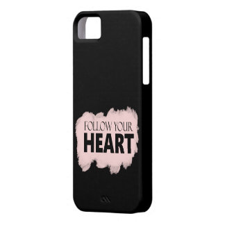 "Black & Pink Swish ""Follow Your Heart"" iPhone Case"