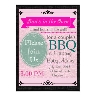 """Black & Pink Thatched Invite 5.5"""" X 7.5"""" Invitation Card"""