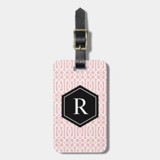 Black & Pink Trellis | Luggage Tag