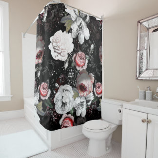 Black U0026 Pink Victorian Rose Floral I Love You More Shower Curtain