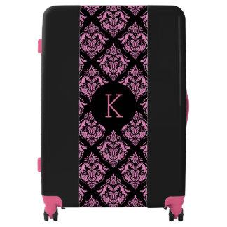 Black & Pink Vintage Damasks Geometric Pattern Luggage