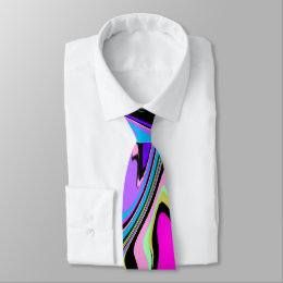 Black Pink Violet Abstract Tie