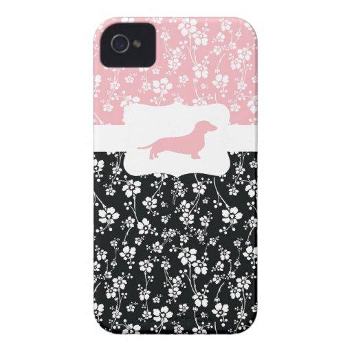 Black&Pink w/Dachshund floral Funda Para iPhone 4 De Case-Mate