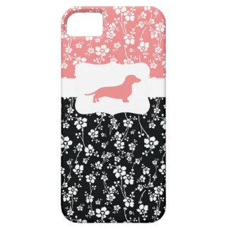 Black&Pink w/Dachshund floral iPhone 5 Fundas