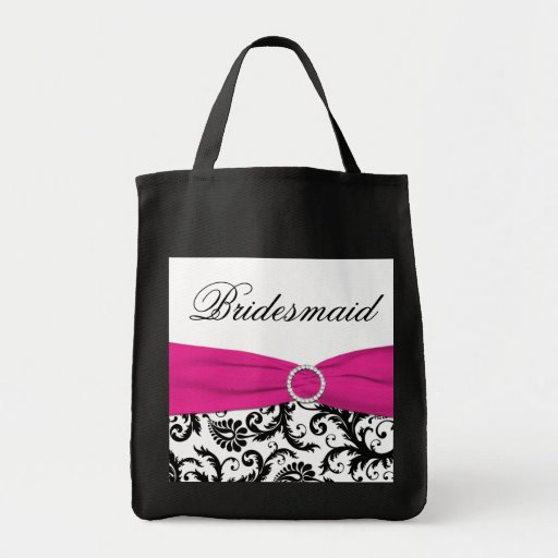 Black, Pink, White Bridesmaid Tote Bag