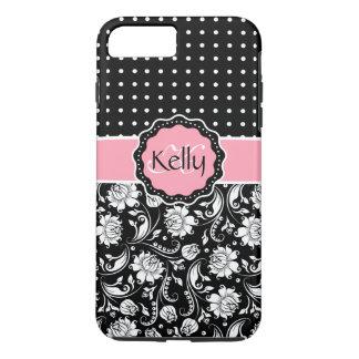 Black Pink & White Damask & PolkaDot Pattern 3 iPhone 7 Plus Case