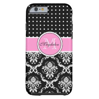Black Pink & White Damask & PolkaDot Pattern Tough iPhone 6 Case