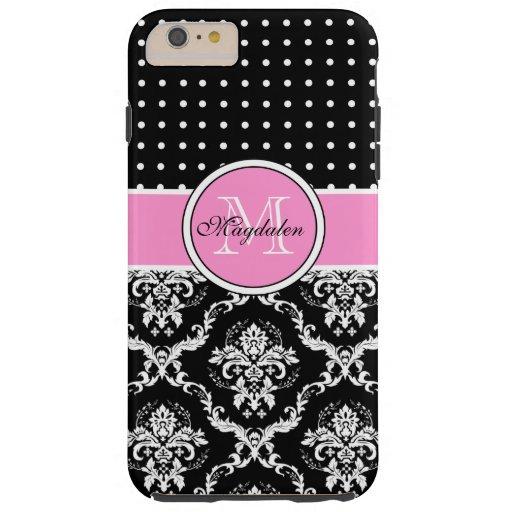 Black Pink & White Damask & PolkaDot Pattern Tough iPhone 6 Plus Case