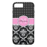 Black Pink & White Damask & PolkaDot Pattern iPhone 7 Plus Case