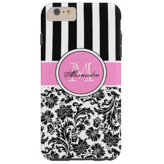 Black Pink & White Damask & Stripes Pattern Tough iPhone 6 Plus Case