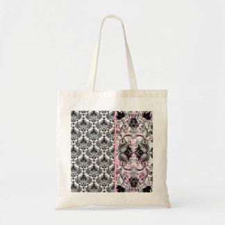 Black Pink & White Floral Damask Pattern Tote Bag