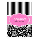 Black Pink & White Floral Damasks 2-Customized Business Card Template