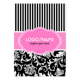 Black Pink White Floral Damasks 2-Customized Business Card Template
