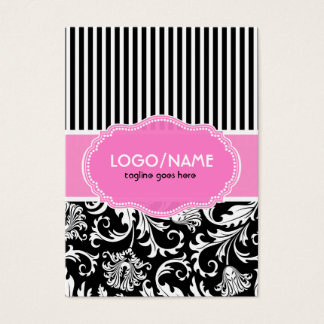 Black Pink & White Floral Damasks 2-Customized Business Card