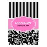 Black Pink & White Floral Damasks 2-Customized Large Business Card