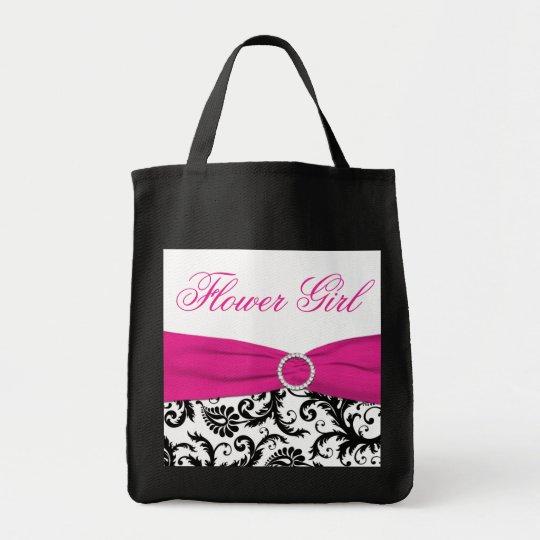 Black, Pink, White Flower Girl Tote Bag