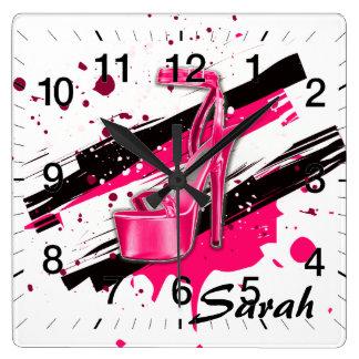 Black, Pink & White Hot High Heels Square Wall Clock