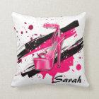 Black, Pink & White Hot High Heels Throw Pillow