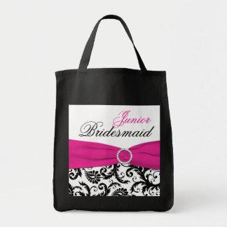 Black, Pink, White Junior Bridesmaid Tote Bag
