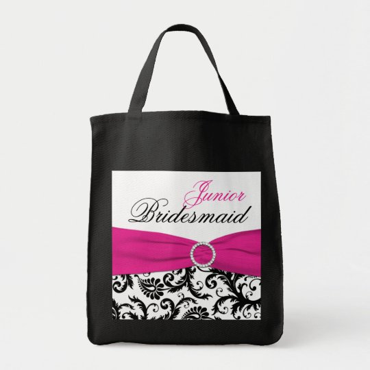 Black, Pink, White Junior Bridesmaid Tote Bag