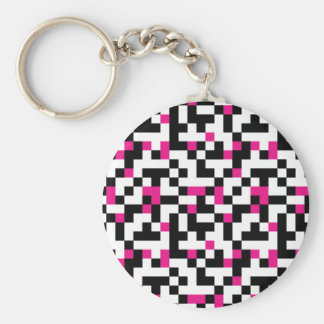Black Pink White Pixel Pattern Keychain