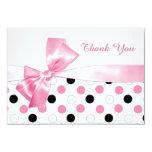 Black, pink, white polka dot Bat Mitzvah Thank You Card