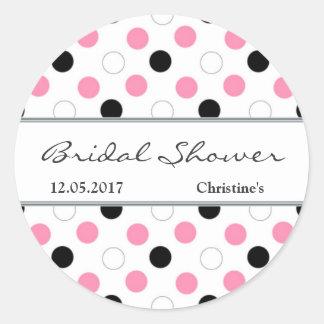 Black pink white polka dot Bridal Shower Sticker