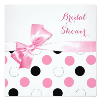 Black, pink, white polka dots Bridal shower Card