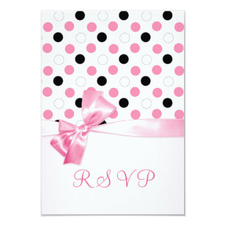 Black, pink, white polka dots RSVP Card