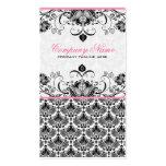 Black Pink & White Retro Floral Damasks Pattern Business Card Template