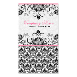 Black Pink White Retro Floral Damasks Pattern Business Card Template