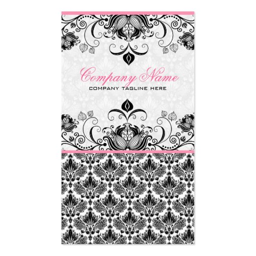 Black Pink & White Retro Floral Damasks Pattern Business Card Template