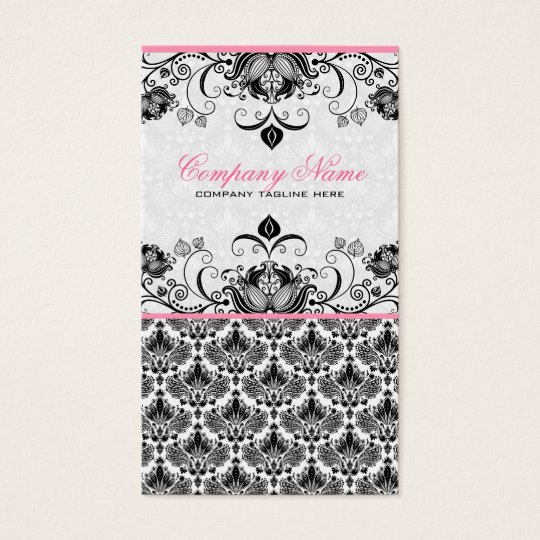 Black Pink & White Retro Floral Damasks Pattern Business Card