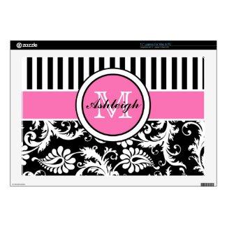 Black, Pink, White Stripe Damask Laptop Skin