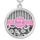 Black, Pink, White Striped Damask Necklace