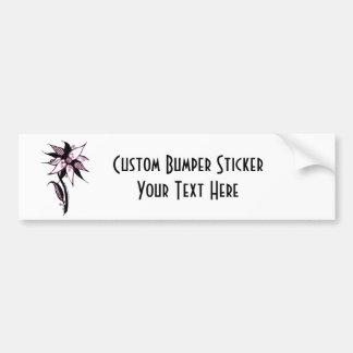 Black Pink & White Swirly Flower by Naomi Bumper Sticker