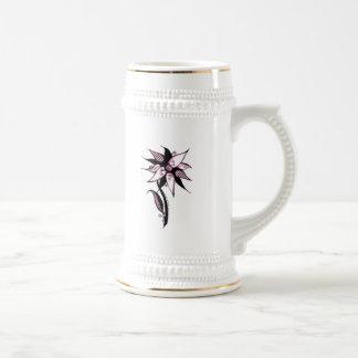 Black Pink & White Swirly Flower by Naomi 18 Oz Beer Stein