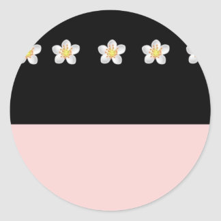 Black & Pink with Flowers Stickers