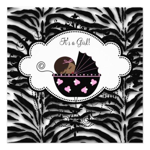 Black Pink Zebra Baby Girl Shower Invitations