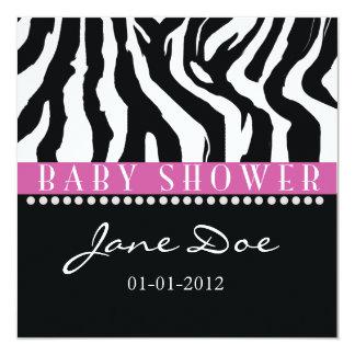 pink black zebra baby shower invitations  announcements  zazzle, Baby shower invitations
