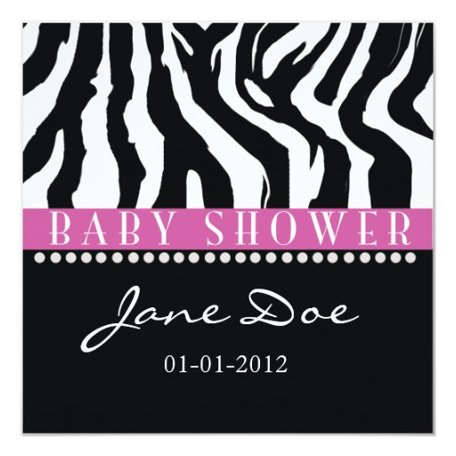 Black pink zebra baby shower invitations zazzle for Pink and zebra bathroom ideas
