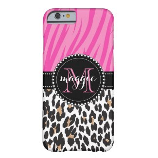 Black Pink Zebra Leopard Print Custom Monogram Barely There iPhone 6 Case