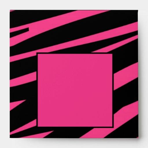 Black Pink Zebra Print Envelope Template