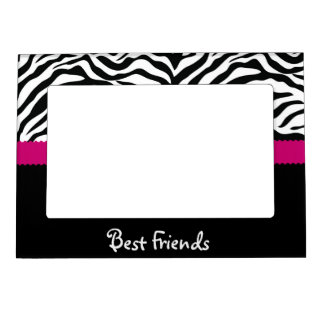 Black & Pink Zebra Stripe Best Friends Magnetic Photo Frame