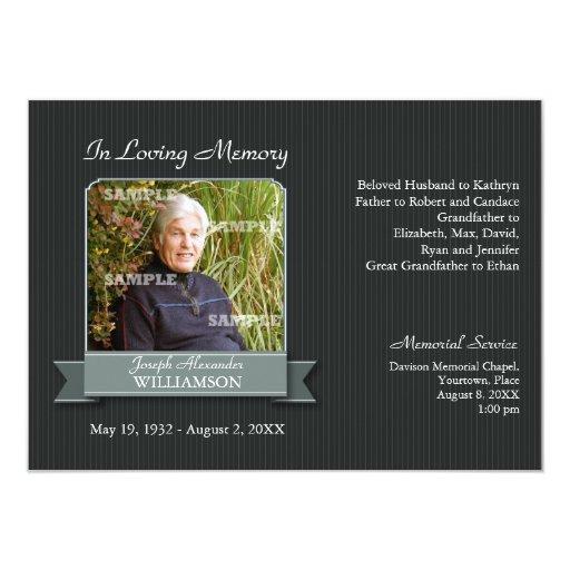Black Pinstripe Banner Memorial Notice Personalized Invite